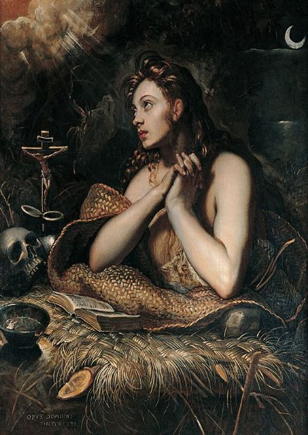 Tintoretto, Jacopo Robusti: Penitent Magdalene. Art Print/Poster. Sizes: A4/A3/A2/A1 (001995)